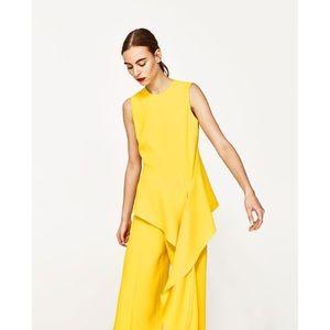 Zara | Yellow Asymmetrical Ruffle Blouse